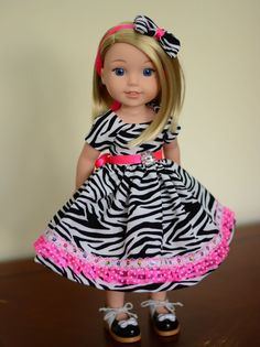 """""""Zebra Lover"""" Dress, Outfit, Clothes for American Girl Wellie Wishers…"""