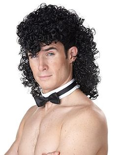 Girl's Night Out Men Funny Sexy Chippendales Stripper Curly Black Mullet Wig Curly Mullet, Mullet Wig, Mullet Hairstyle, Curly Hair Cuts, Curly Wigs, Curly Hair Styles, Bad Hair Day, Big Hair, Hair