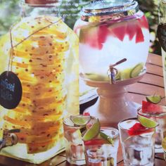 Summer cocktails party- labeled dispensers with garnishes separately Refreshing Drinks, Fun Drinks, Yummy Drinks, Beverages, Summertime Drinks, Infused Vodka, Party Buffet, Drink Dispenser, Breakfast Smoothies
