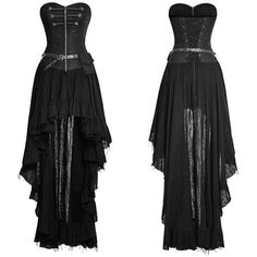 Designer Black High Low Corset Gothic Steam Punk Fashion Dresses SKU-11402379