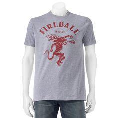 Men's Fireball Whiskey Dragon Tee, Size: Small, Grey