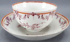 Bristol Porcelain Maroon & Red Floral Garlands Tea Cup & Saucer C. 1770 - 1781