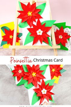 Easy Poinsettia Christmas Card for Kids to make: Simple, but really fun and engaging, children will love building up the flowers and seeing them pop from the page. Our poinsettia template makes the craft super easy - perfect for recreating at home or within the classroom. Get the poinsettia craft for kids template here! DIY Christmas Cards for Kids to Make | Easy Christmas Crafts for Kids | Easy Poinsettia Crafts for Kids | Homemade Christmas Cards for Kids Templates #PoinsettiaCrafts Preschool Christmas Crafts, Christmas Art Projects, Simple Christmas Cards, Christmas Crafts For Kids To Make, Printable Christmas Cards, Homemade Christmas Cards, Easy Crafts For Kids, Kids Christmas, Handmade Christmas