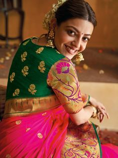 Kajal Aggarwal Hot Pink Silk Traditional Woven Saree with Zari Gold Floral Border and Pallu Pattu Saree Blouse Designs, Half Saree Designs, Saree Blouse Patterns, Fancy Blouse Designs, Bridal Blouse Designs, Traditional Blouse Designs, Lehenga Blouse, Blouse Models, Saree Models