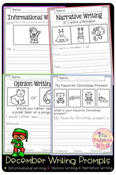 December Writing Prompts contains 60 pages of writing prompts worksheets. This product is suitable for kindergarten and first grade students. Kindergarten | Kindergarten Worksheets | First Grade | First Grade Worksheets | Informational Writing Prompts | Opinion Writing Prompts | Narrative Writing Prompts | Writing Prompts Literacy Centers | Winter Writing Prompts First Grade Worksheets, Kindergarten Worksheets, Narrative Writing Prompts, Informational Writing, Would You Rather, Literacy Centers, Sentences, December, Students