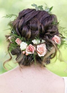 Gorgeous loose braided updo wedding hairstyle with pink flower crown; Featured Photographer: Lieb Photographic, Via Twobirds Bridesmaid