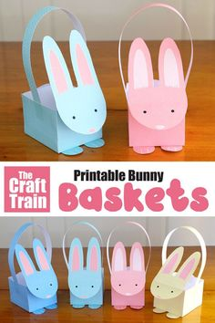 This is a fun and easy printable Easter craft that kids can make – comes in both full colour and line art so kids can colour their own crafts easter Printable Easter bunny baskets Bunny Crafts, Easter Art, Easter Projects, Easter Crafts For Kids, Craft Projects, Craft Ideas, Paper Bunny, Basket Crafts, Easter Baskets Craft