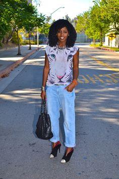 Style Pantry | Tiger Print Tee + Boyfriend Jeans