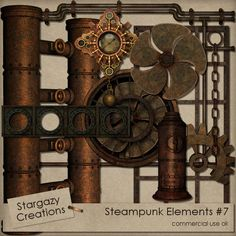 Steampunk Elements Vol. 7 [stg_steampunk_7] : CU Digitals, Commercial Use / CU Digital Scrapbooking elements, templates, overlays, actions, scripts and tools