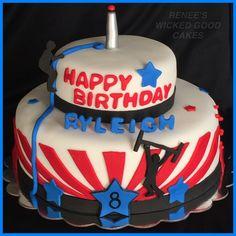 American Ninja Warrior Cake! Happy birthday Ryleigh!  Renee's WICKED GOOD Cakes - like us on facebook!  Follow us on instagram @renees_wicked_good_cakes Ninja Birthday Cake, Ninja Cake, Ninja Birthday Parties, Kylie Birthday, Thomas Birthday, Ninja Party, July Birthday, Birthday Ideas, Happy Birthday