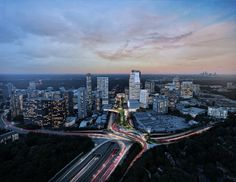 Image 1 of 9 from gallery of Green Urban Park Floating Above a Highway Unifies Buckhead Neighborhood in Atlanta. Aerial view looking south at dusk. Image Courtesy of Roger Partners / Nelson Byrd Woltz Urban Landscape, Landscape Design, Highway Architecture, Architecture Mapping, Architecture Design, Landscape Arquitecture, Urban Heat Island, Urban Park, Parking Design