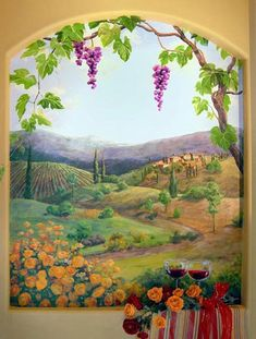Mural by Carol McArdle Calming! Mural Wall Art, Mural Painting, Diy Wall Art, Fantasy Paintings, Landscape Paintings, Landscapes, Garden Fence Art, Decoupage, Contemporary Landscape
