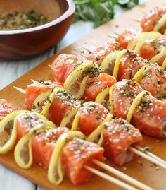 Grilled Salmon Kebabs recipe featured on DesktopCookbook. Ingredients for this Grilled Salmon Kebabs recipe include 2 tbsp chopped fresh oregano, 2 tsp sesame seeds, 1 tsp ground cumin, and tsp crushed red pepper flakes. Create your own online recipe box. Fish Dishes, Seafood Dishes, Fish And Seafood, Seafood Recipes, Main Dishes, Grilling Recipes, Cooking Recipes, Healthy Recipes, Grilling Tips