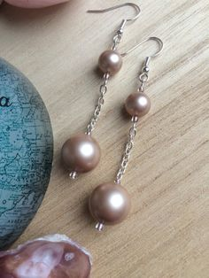 Swarovski Almond Powder Pearl Earrings With Chain, Modern Clip On, Bridal Shop UK, Women Gifts Cheap, Gift For Wife, Christmas Gift For Her by MadeByMissM on Etsy