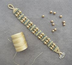 Gold Swarovski Pearl Macrame Bracelet by BlueLotusTreasures.