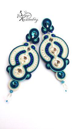 Soutache Necklace, Beaded Earrings, Earrings Handmade, Handmade Jewelry, Boho Jewelry, Jewelry Crafts, Beaded Jewelry, Jewellery, Soutache Tutorial