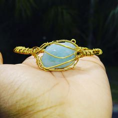 Blue Beryl bracelet wrapped in brass #wirewrap