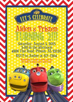 The Chuggingtons Birthday Invitation and by PaisleyPearInvites, $1.50