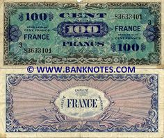France 100 Francs 1944 - French Currency Bank Notes, Paper Money ...