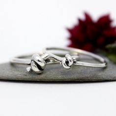Knot Couple Ring Set His & Hers Promise Rings Couple by rosajuri