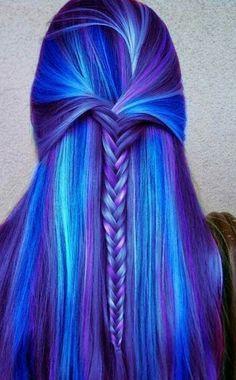 Striking blue and purple hair
