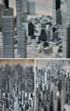 Peter Root's Ephemicropolis. His imaginary cityscape is composed of 100,000 staples and took 40 hours to layout!