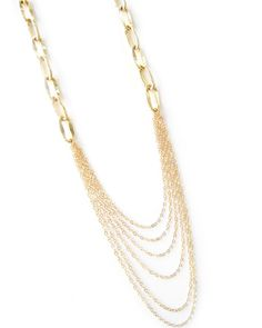 The Gold Long Drape Chain Necklace by JewelMint.com, $80.00