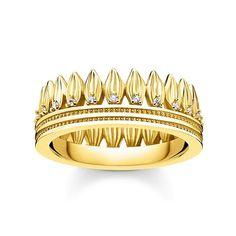 Schöner Ring mit Blätter in Kronenform, der aus Sterling Silber gefertigt und mit Gelbgold vergoldet ist. Thomas Sabo, Leaf Crown, Delicate Jewelry, 18k Gold, Cuff Bracelets, Gold Rings, Rose Gold, Sterling Silver, Diamond