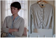 "Club Monaco Button Up Cardigan (colour grey) as seen on Mary Margaret in episode 1x09 ""True North"". (No longer available) Note: The buttons on this cardigan have been replaced by the OUAT costume department. Also there is currently one listing for this item on ebay"