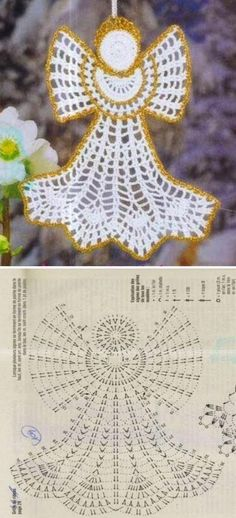 23 Ideas Crochet Christmas Angel Ornaments For 2020 Filet Crochet, Crochet Diagram, Crochet Chart, Thread Crochet, Crochet Motif, Crochet Flowers, Crochet Christmas Ornaments, Christmas Crochet Patterns, Holiday Crochet
