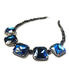 Blue Faux Gem Pendant Beads Necklace