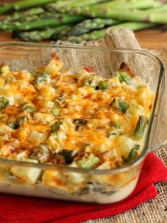 Cheesy Asparagus and Potato Casserole - Anyone will love to eat their veggies when they taste this casserole!