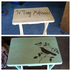 From Drab to Fab! TV Tray Makeover  Going to use these to make tv trays into end tables for the living room.
