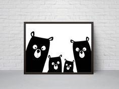 Supporter la pépinière familiale Print ours Art Poster noir