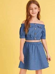 Girls Off Shoulder Button Detail Top & Skirt Set – Kidenhouse Dresses Kids Girl, Kids Outfits Girls, Cute Girl Outfits, Cute Outfits For Kids, Cute Casual Outfits, Stylish Outfits, Cute Dresses, Kid Outfits, Kids Girls