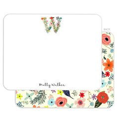 White Floral Flat Note Cards