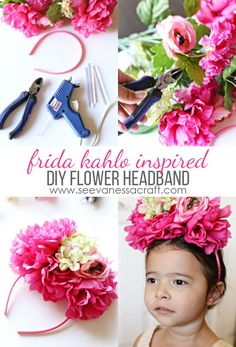 Flower Headband Inspired by Frida Kahlo - perfect for Cinco de Mayo