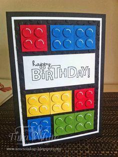 Australia – Tina White – Time to Ink Up – Independent Stampin' Up! Australia – Tina White – Time to [. Lego Birthday Cards, Birthday Cards For Boys, Bday Cards, Handmade Birthday Cards, Happy Birthday Cards, Birthday Kids, Birthday Greetings, Birthday Design, Birthday Cake