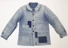 1930's french moleskin jacket patched repair