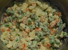 Macédoine de légumes: Une macédoine de légumes, ce sont des petits dés de légumes (carottes et navets), des petits morceaux de haricots verts et des petits pois.Chaque légume est cuit à l'eau bouillante salée, puis soigneusement égoutté.Enfin, on lie le tout avec une mayonnaise.