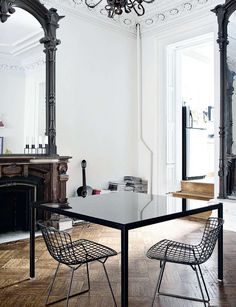 Wood floor, mirror, fireplace, bright light...