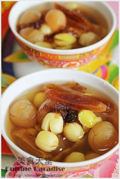 Cuisine Paradise : lotus seeds, longan and persimmon sweet soup.a Chinese New Year 'auspicious' dessert Malaysian Dessert, Malaysian Food, Chinese Soup Recipes, Asian Recipes, Asian Desserts, Sweet Desserts, Chinese Desserts, Herb Soup, Asian Cake