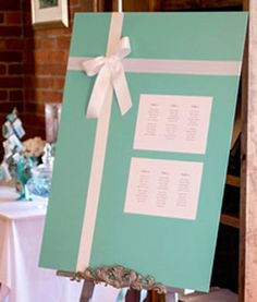 Wedding Seating Chart, Board, Guest List Seating Idea. Tiffany & Co. Wedding Theme. Weddings by Netti.