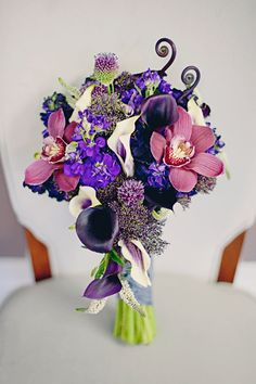 The bridesmaids bouquet with beautiful hues of purple