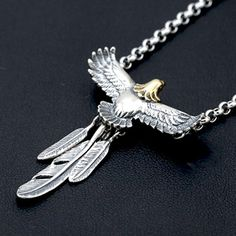 """Men's Sterling Silver Eagle Feather Necklace with Sterling Silver Rolo Chain 18""""-30"""""""