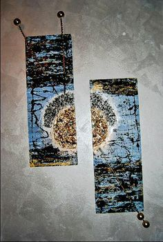 #Modern #Abstract #materic #painting on wood boards. Dimension: 25 x 78 cm ( each board) Materials: Pebbles, Ping Pong Balls, Wood Sticks, Haywire, Plaster, Spray Paint, Vinyl Glue, Acrylic Colors, Varnish, Colored gems. Replicas available on canvas or in custom dimensions. By #Viviana #Masullo