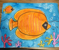 tropical fish painting kindergarten, 1st, 2nd, crayon resist watercolor