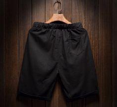 Men's Cotton Linen Shorts Breathable Beach Shorts Beads Black - Shorts