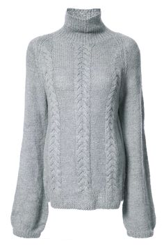 Grey alpaca cable-knit turtleneck jumper from VOZ featuring a cable knit, a turtle neck, dropped shoulders and long sleeves. Cable Knit Jumper, Chevron Scarves, Sustainable Clothing, Sweater Design, Knitwear, Sweaters For Women, Turtle Neck, Knitting, The Voice