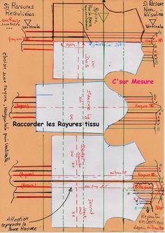 Comment faire pour raccorder les rayures ?! déjà , bien regarder/observer votre tissu ATTention les rayures peuvent etre : * si tissu à rayures horizontales : choisir une rayure et la garder pour tout debut (ex: ligne poitrine, ligne tete de menche )...
